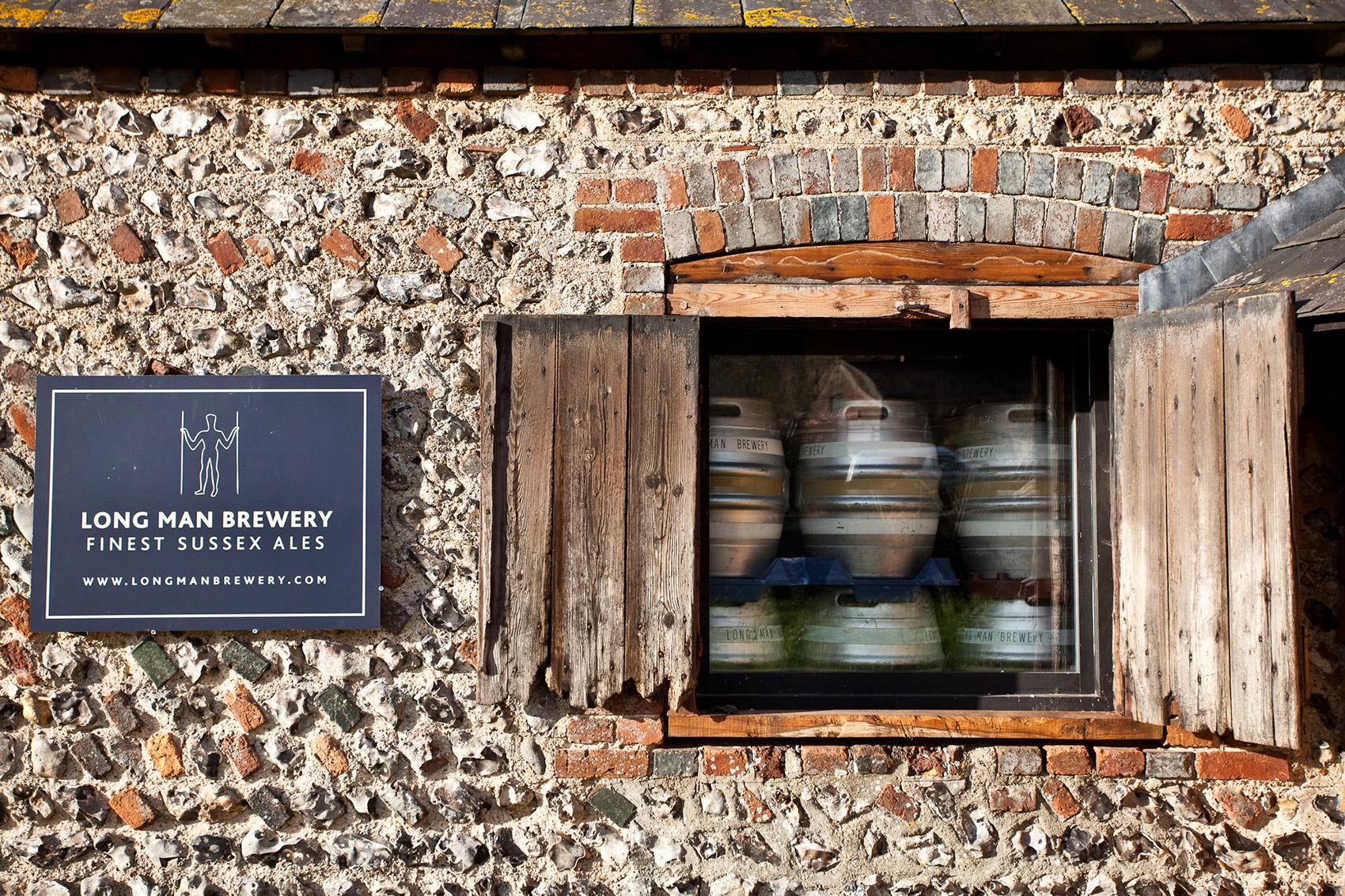 Casks through window - Long Man Brewery